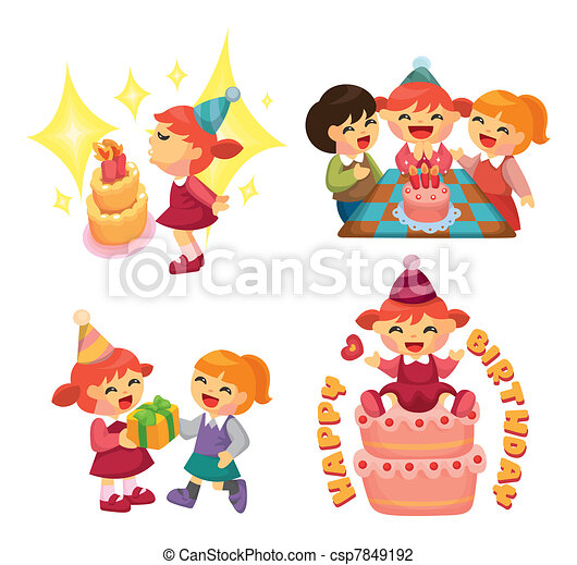 cartoon birthday  party - csp7849192