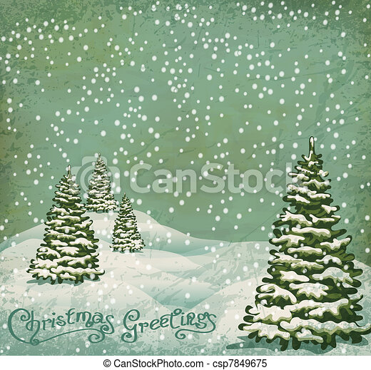vintage postcard with Christmas trees, snow - csp7849675