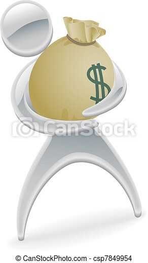 Metallic character holding money concept - csp7849954