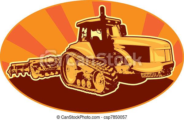 tractor mechanical digger excavator retro - csp7850057