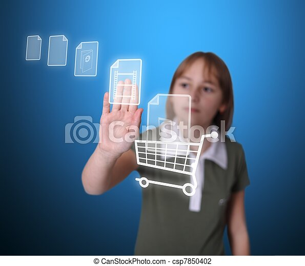 Girl buying multimedia items online - csp7850402