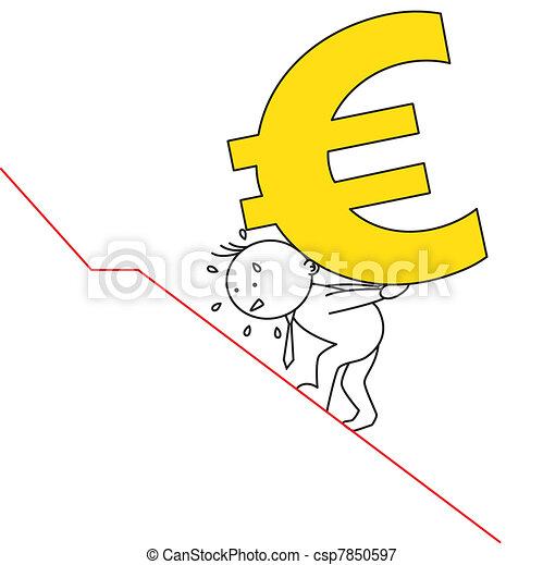 man carrying euro - csp7850597