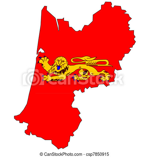 map with flag of aquitaine - csp7850915