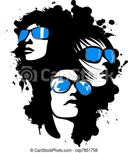 distressed woman pop art face - csp7851758
