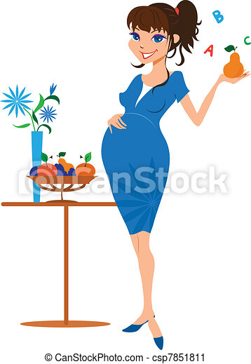 Smiling pregnant woman with pear - csp7851811