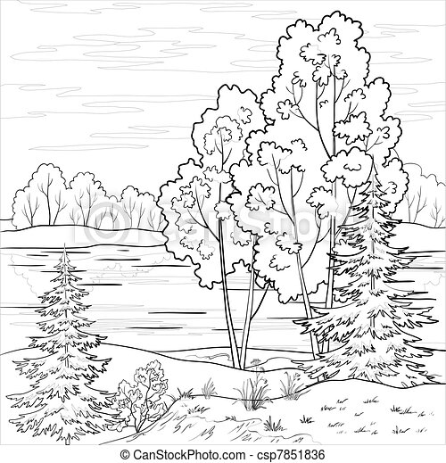 Landscape. Forest river, outline - csp7851836