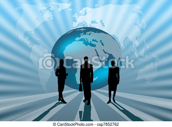 business people international on blue globe illustration - csp7852762
