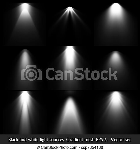 Vector of Black and white light sources. Vector set ...