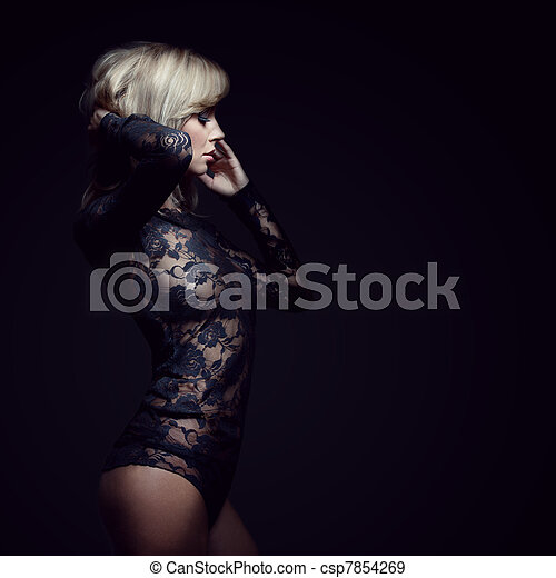 gorgeous blonde in lace dress - csp7854269
