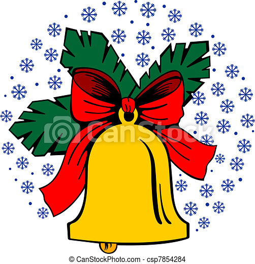 EPS Vector of Jingle bell on snowflakes background ...