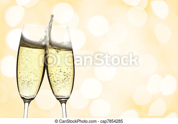 two glasses of champagne - csp7854285