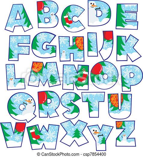 Christmas Alphabet Clipart