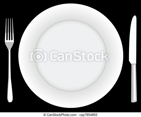 fork plate and knife - csp7854855