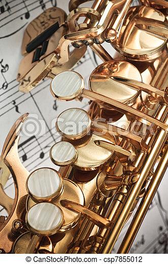 Saxophone keys closeup - csp7855012