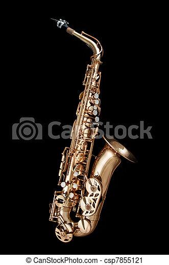 Saxophone Jazz instrument on black - csp7855121