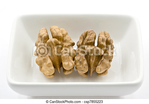Two Walnuts Kernels in a White Dish - csp7855223