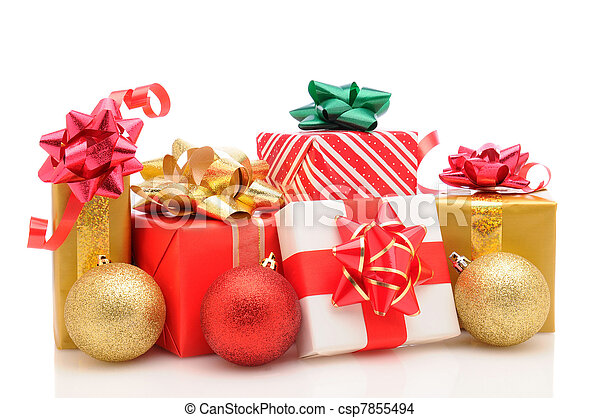 Christmas presents and ornaments on white - csp7855494