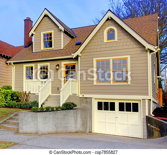 Small new cute brown house with orange doors and windows. - csp7855827