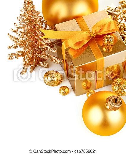 stock fotografie von gold kugeln weihnachten geschenk. Black Bedroom Furniture Sets. Home Design Ideas