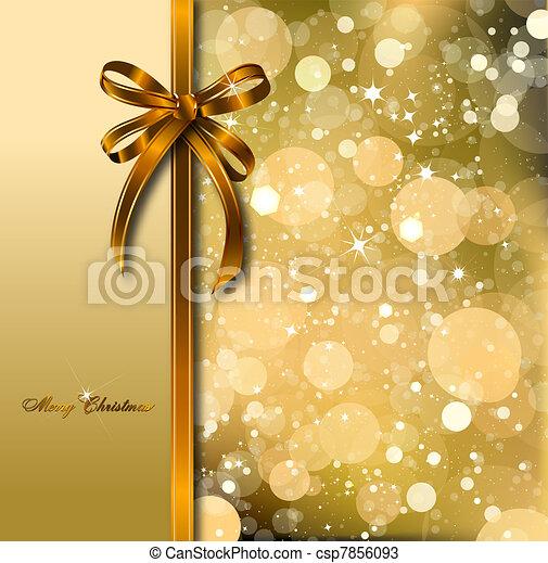 Gold bow on a magical Christmas card. Vector - csp7856093