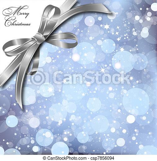Silver bow on a magical Christmas card. Vector - csp7856094