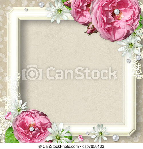 Vintage Photo Frame with roses - csp7856103