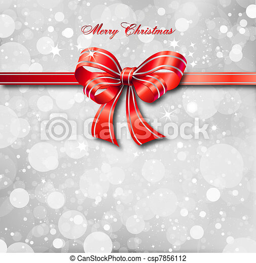 Red bow on a magical Christmas card. Vector - csp7856112