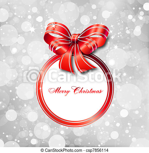 Red bow on a magical Christmas card. Vector - csp7856114