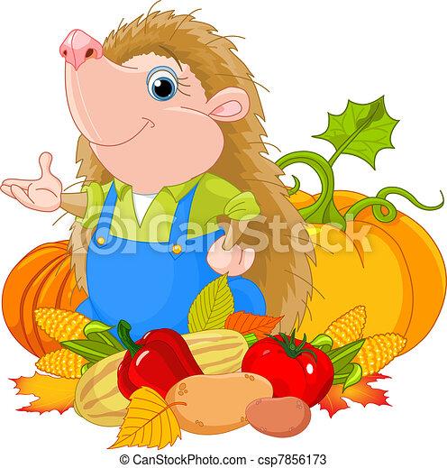 Hedgehog with harvest - csp7856173