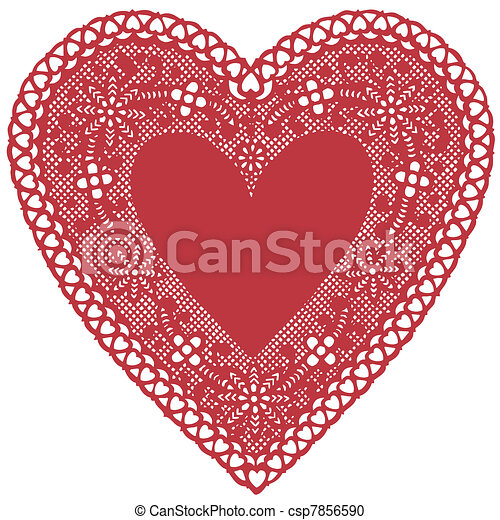 Antique Red Lace Doily Heart - csp7856590