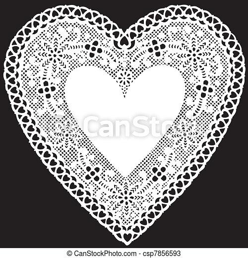 Antique White Lace Doily Heart - csp7856593