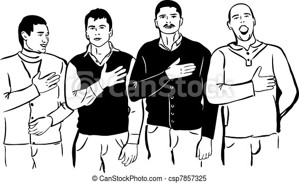 Four men listen and sing their national anthem - csp7857325