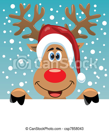 rudolph deer holding blank paper - csp7858043