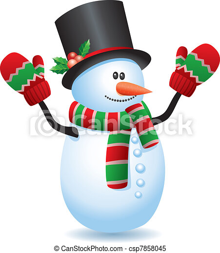 Vecteur clipart de bonhomme de neige vecteur illustration de bonhomme de csp7858045 - Clipart bonhomme de neige ...
