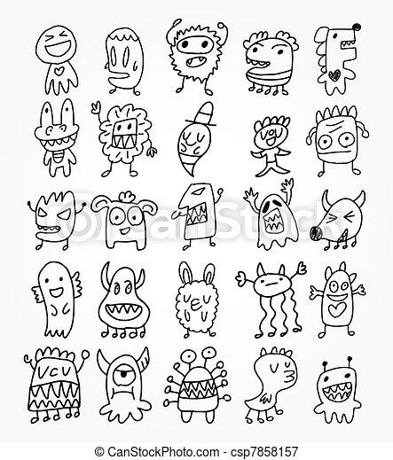 hand draw ghost element - csp7858157