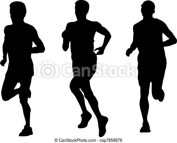 marathon runner running silhouette - csp7858876