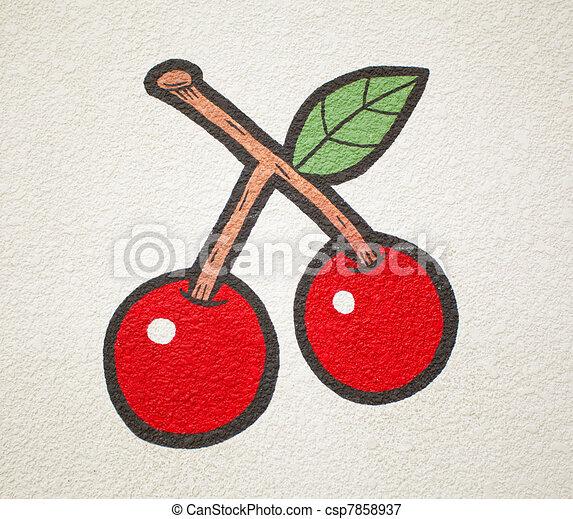 vintage hand-draw cherry - csp7858937