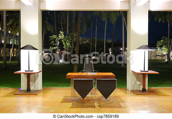 Modern lobby interior at night illumination, Bentota, Sri Lanka - csp7859189