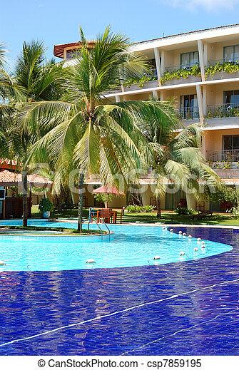 The swimming pool at luxury hotel, Bentota, Sri Lanka - csp7859195
