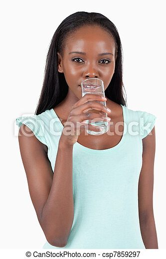 Young woman taking a sip of refreshing water - csp7859297