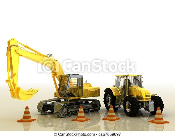 excavadora,  tractor - csp7859697