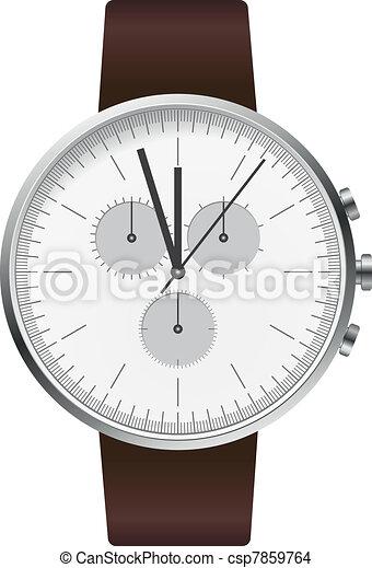 silver hand watch illustration - csp7859764