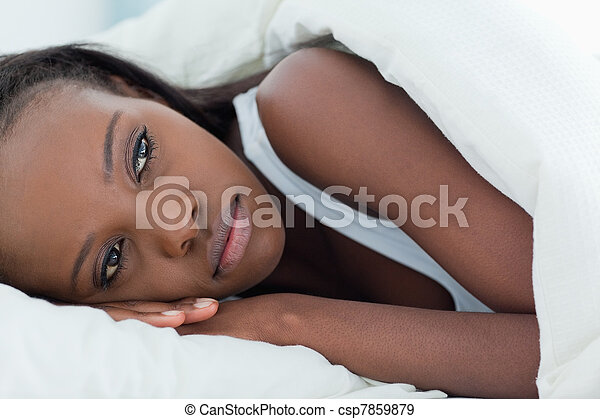 Lonely woman waking up - csp7859879