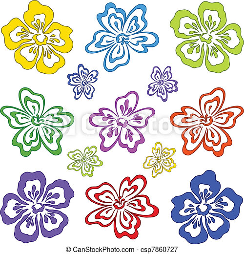 Abstract flower, set, pictogram - csp7860727