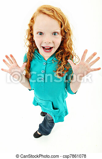 Extremely Excited Girl Child Over White Background Standing - csp7861078