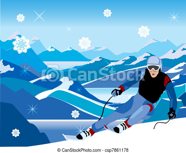skier sloping down from the hill - csp7861178