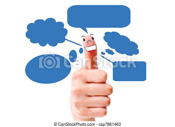 Happy  finger smileys holding   with social network sign   - csp7861463