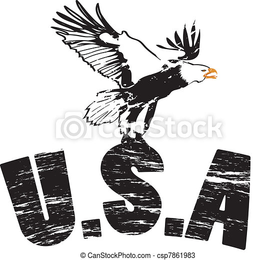Eagle with usa in grunge illustration - csp7861983