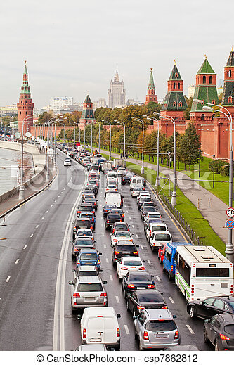 Automobile jam on the Kremlin quay in rush hour. Moscow. Russia - csp7862812