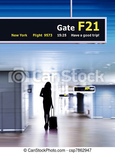 airport and silhouette of passenger - csp7862947